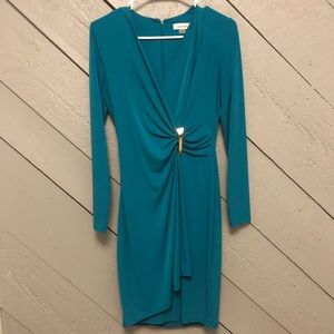 Calvin Klein Teal Long Sleeved Dress